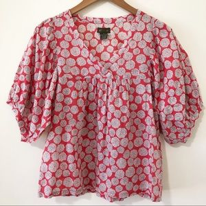 Anthropologie Fei Puff Sleeve Red Floral Blouse